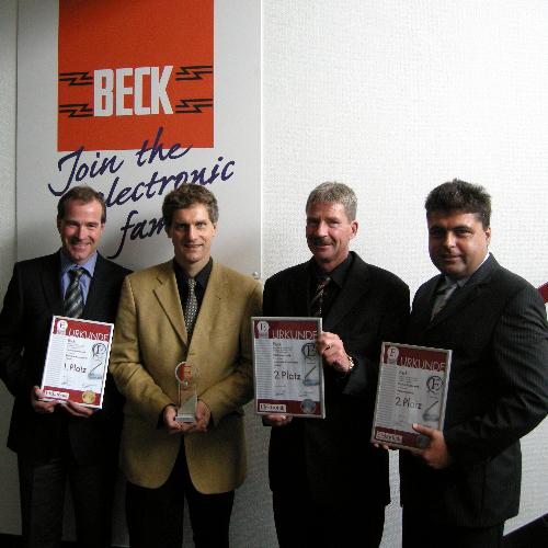 Die Nürnberger Firma Beck Elektronik Bauelemente wurde von den Lesern mit einem ersten (Passive Bauelemente / Technische Kompetenz/Support) und zwei zweiten Plätzen bedacht (v.l.n.r. Alexander Beck. Gerhard Stelzer, Dr. Dieter Beck und Joachim Pfülb)