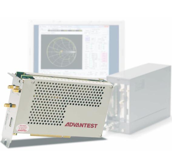 Bislang in dieser Form im Markt nicht realisiert: die Vektor-Netzwerkanalysatoren R3755A (300 MHz) und R3760 (6 GHz) von Advantest als PC-Einsteckmodule im PCI-Format.