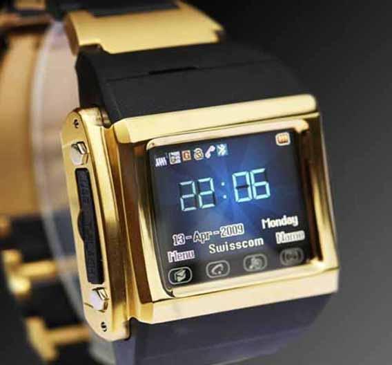iWatch W600: Armband-Handy mit Wecker, Kamera, MP3 sowie MP4 für Audio und Video. SMS- und MMS-fähig. 120 min Sprech- und 280 h Standby-Zeit.