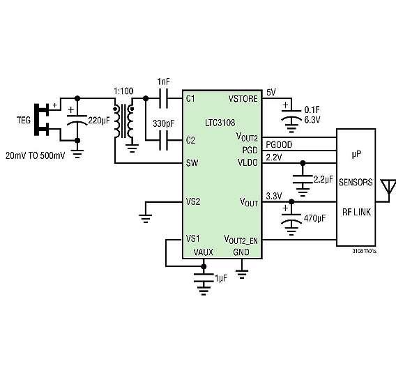 Bild 2: Der »LTC3108« von Linear Technology versorgt aus einem TEG (Peltierelement) eine Anwendung mit einem drahtlosen, abgesetzten Sensor