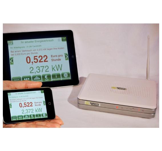 So sieht die IEQ-Box aus. Daneben ein iPod Touch und ein iPad mit den visualisierten Daten zum Stromverbrauch.