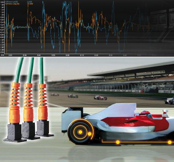 Datenaustausch zwischen dem Formel-1-Fahrzeug und der Fahrerbox: Die Steckverbinder E-DAT Industry von BTR Netcom stellen eine zuverlässige Ethernet-Verbindung her, die vor Ort alle transportablen Geräte verbindet. Die Anforderung an die Leistung der Datenübertragung: Cat.6A, 10 GBit-Ethernet (IEEE 802.3an)