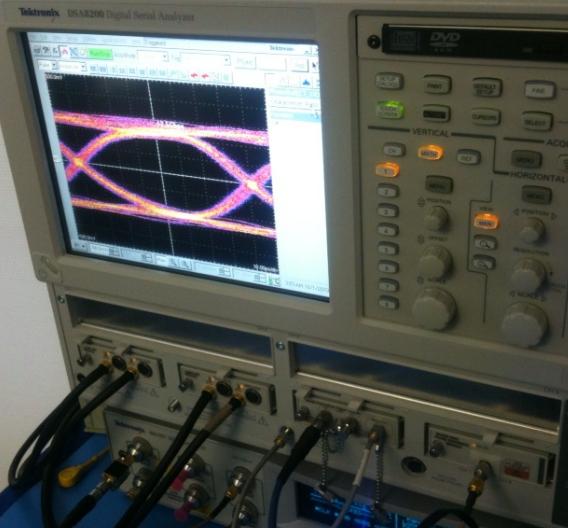 Das Augendiagramm vom 12,5 Gbit/s-Transceiver ist nahezu perfekt und zeigt ein weit geöffnetes Auge.