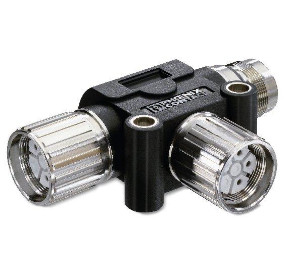 Umspritzter Energieverteiler für Übertragungsleistungen bis 630 V bei 30 A, erhältlich in vier- und fünfpoliger Ausführung.