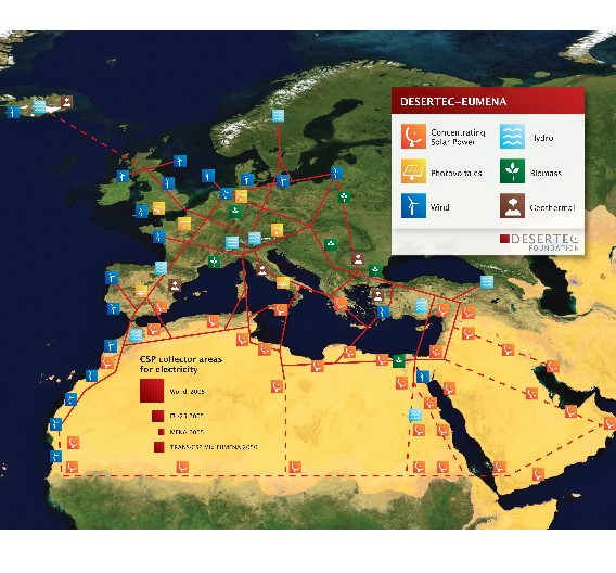 DESERTEC EU-MENA Karte: Skizze einer möglichen Infrastruktur für eine nachhaltige Stromversorgung in Europa, dem Nahen Ostenund Nord-Afrika (EU-MENA).  Zur Veranschaulichung: Die durch die roten Quadrate markierten Flächen für Solarkollektoren würden genügen, um in solarthermischen Kraftwerken (CSP) den Strombedarf  der Welt (18.000 TWh/a, 300x300 km²),  Europas (EU, 3.200 TWh/a, 125x125 km²)  und von Deutschland bzw. MENA (Middle East and North Africa, ca. 600 TWh/a, 55x55 km²) zu erzeugen.  Das Quadrat