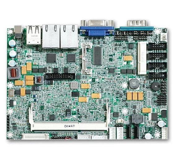 Ohne Lüfter kommt das 3,5 Zoll große Embedded-Board »PEB-2771VG2A« von Portwell (Halle/Stand: 9/425) aus, das auf Intels Dual-Core-Prozessor »Atom D525« basiert. Mit dem Chipsatz »NM10 Express« unterstützt es DDR3-800-Systemspeicher bis auf 4 GByte, Dual-Display via VGA und LVDS, Dual-Gigabit-Ethernet, zwei SATA-Schnittstellen, ein IDE-Anschluss mit 44 Pins, Typ-II-CompactFlash-Sockel sowie sechs USB-, Dual-Channel-24-Bit-LVDS- und vier serielle Ports.