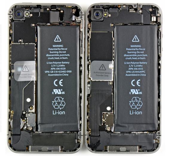 Der Akku des CDMA-Gerätes (links) hat die gleiche Kapaziät (5,25 Wh), ist aber mit 25,6 g etwas leicher als der GSM-Akku (26,9 g, rechts).
