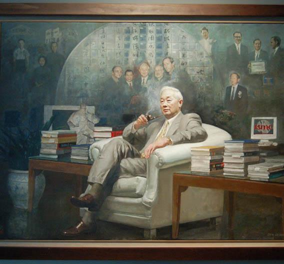 Das bleibt nur den ganz Großen vorbehalten: Dieses Gemälde von Firmengründer Dr. Morris Chang ziert als einziges die Eingangshalle von TSMC.