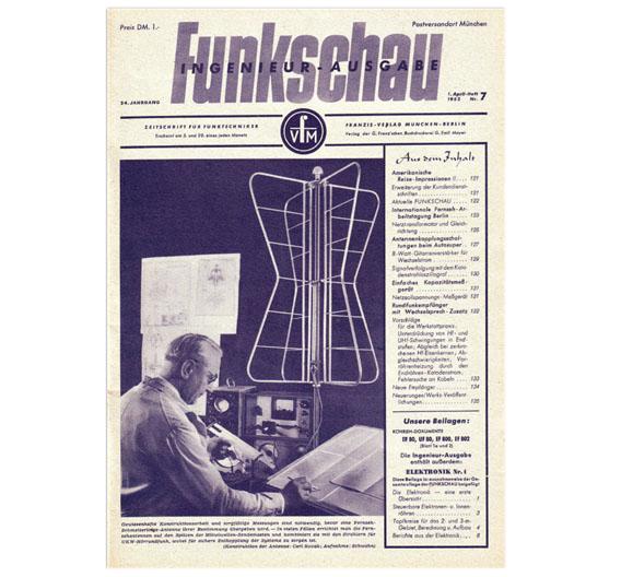 So fing alles an: die erste Ausgabe der Elektronik im April 1952 war eine Beilage der Funkschau. Beim Titel der Funkschau geht es übrigens um Schmetterlings-Antennen, bei denen es auf