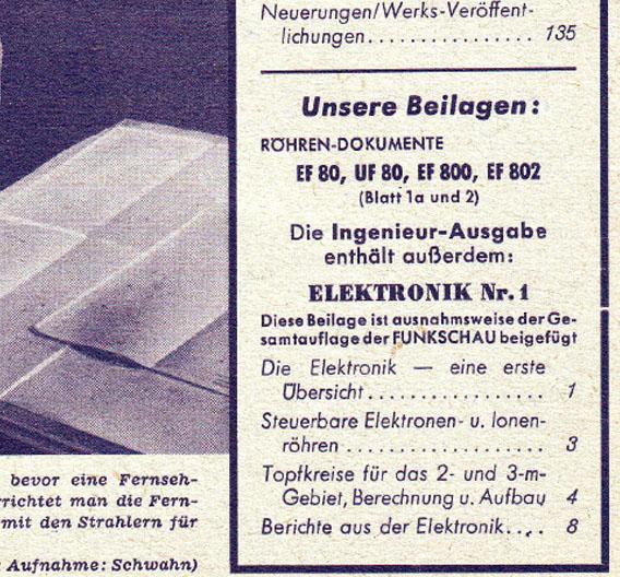 Hier nochmal der Ausschnitt auf dem Titelblatt der Funkschau, auf dem die Elektronik erstmals zu finden ist: unter den neuesten Röhren-Dokumenten befindet sich die Inhaltsangabe der Elektronik, die damals 8 Seiten hatte.