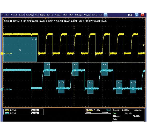 """Bild 4. Bitmuster-Triggerung des seriellen I2C-Bitmusters """"101 0100""""."""