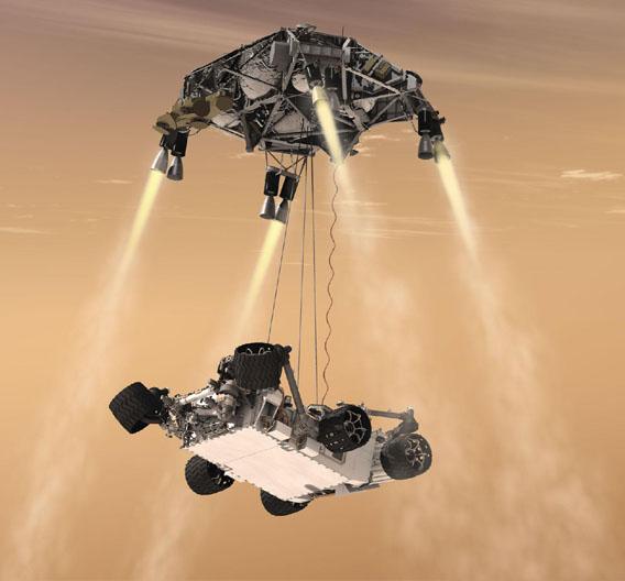 Und so sind die Abdrücke entstanden. Bei der Landung setzt die Sonde den Roboter ab und bremst mit den Düsen den Aufprall ab.