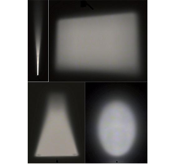 Bild 1. Beispiele für eine gleichmäßige Ausleuchtung nahezu beliebiger Flächen mit einer LED und einem Freiformspiegel.