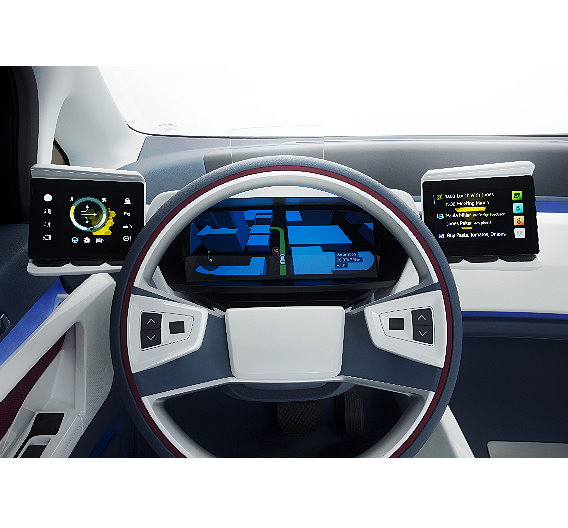 Fahrer-Cockpit mit rekonfigurierbarem TFT-Kombiinstrument, interaktiven Touchscreens und Head-up-Display 2.