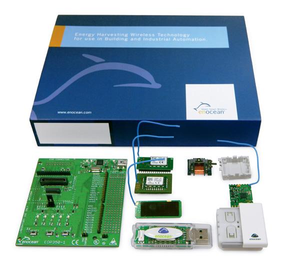 Einfache Energy-Harvesting-Anwendungen lassen sich  Developer Kit EDK 350 entwickeln, das EnOcean sponsert.