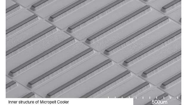 Micropelt passt die innere Struktur der Bauteile dem Einsatzzweck an. Der Einsatz als Kühler...