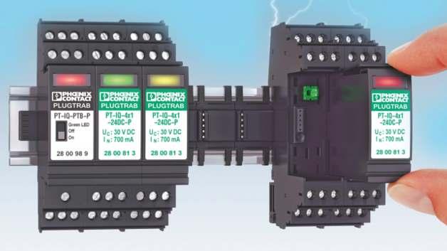 Das Überspannungsschutzsystem Plugtrab PT-IQ schützt industrielle Anlagen zuverlässig und intelligent.