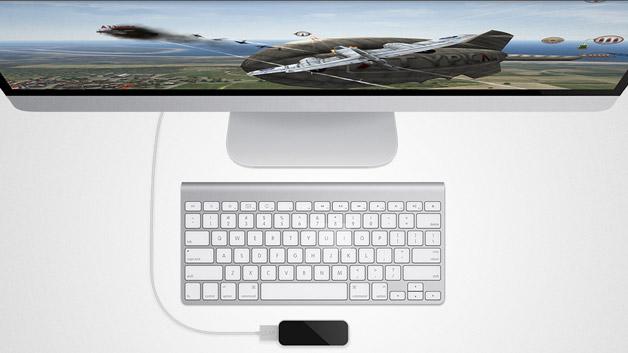 Desingtechnisch liegt der 3D-Controller auf einer Linie mit Apple. Das kleine Teil besteht aus Aluminium und schwarzem Kunststoff. Die abgerundeten Ecken fügen sich nahtlos in die Optik von Apples Macs ein.