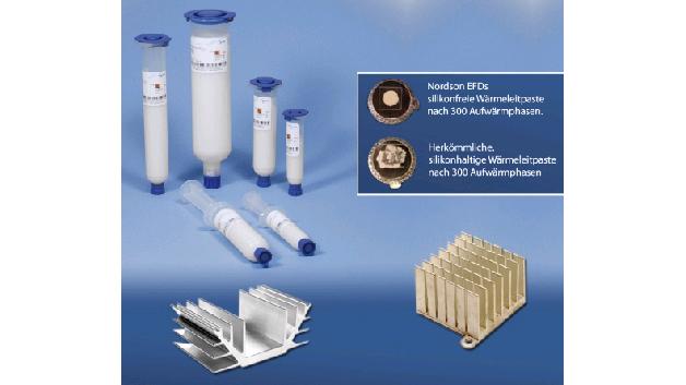 Nordson EFD hat mit TC70, TC70-340WC und TC70-57000 silikonfreie Wärmeleitpasten im Programm, die über gute thermische Eigenschaften verfügen und für eine verlässliche Wärmeableitung. Die Pasten sind so konzipiert, dass diese den Pump-out-Effekt nahezu vollständig eliminieren. Konventionelle, silikonhaltige Wärmeleitpasten zerfließen nach mehreren Aufwärm- und Abkühlphasen (Pump-Out-Effekt).  Es entstehen Lücken, und die Pasten verlieren ihre Wirksamkeit, wodurch die Baugruppen überhitzen und es zu vorzeitigen Produktausfällen kommen kann. Die TC70-Pasten werden bei normalem, industriellem Gebrauch nicht ausbluten, nicht aushärten und nicht austrocknen oder schmelzen.
