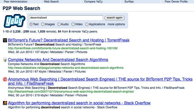 Screenshot der Ergebnisliste einer Internetrecherche mit der Suchmaschine YaCy