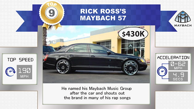 Der Rapper Rick Ross hat sich für einen Maybach 57 entschieden und belegt mit einem Preis von 430.000 Dollar den neunten Platz.