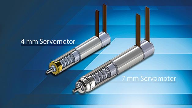 Die Servo-Motoren der SBL-Serie von Namiki sind in den Größen von 4 mm und 7 mm erhältlich und adressieren die Präzisionstechnik. Der 7-mm-Servo-Motor SBL07-1318E arbeitet mit einer Nennspannung von 3 V, ist 19 mm lang und mit den Planetengetriebe-Untersetzungen der Serie SPG07 mit i = 4,7:1; i = 22:1; i = 105:1 und i = 494:1 erhältlich. Mit dem SBL07-1318EPG22-T3B ist in dieser Baureihe auch eine 7-mm-Variante mit einer Getriebeübersetzung von i = 22 und einer Leerlaufdrehzahl an der Getriebeabgangswelle von 390 U/min bei einem Kippmoment von 3,3 mNm erhältlich. Die Auflösung des verwendeten magnetischen 3-Kanal-Encoders beträgt 64 Impulse pro Umdrehung. Die Gesamtlänge beträgt hier 37 mm. Der 4-mm-Servomotor SBL04-0829 ist 10 mm lang und mit den Planetengetriebeuntersetzungen i = 4,3:1, i = 18:1, i = 29 und i = 337:1 erhältlich. Er arbeitet mit einer Nennspannung von 3 V. Das Modell SBL04-0829EPG22H3B ist 24,5 mm lang und hat bei einer Getriebeuntersetzung von i = 337:1 eine Kippmoment von 3,3 mNm. Die Leerlaufdrehzahl an der Getriebeabgangswelle beträgt 84 U/min. Ein magnetischer 3-Kanal-64-Puls-Encoder ist integriert.