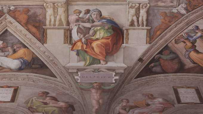 Fresken in der Sixtinischen Kapelle - mit der bisherigen Beleuchtung