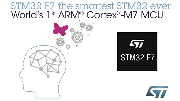 Rekord-Rechenleistung: Erster Mikrocontroller mit Cortex-M7. Der STM32 F7 von STMicroelectronics ist der erste Mikrocontroller mit ARMs neuem Cortex-M7. Der in STs 90-nm-Embedded-Flash-Prozess gefertigte Chip erreicht 200MHz; mit 1000CoreMark stellt er nicht nur im Cortex-M-Universum einen neuen Rekord auf. Der STM32F7 enthält 320KB SRAM und verfügt über Peripheriefunktionen für Imaging, Konnektivität und Verschlüsselung. Der schon aus dem F4 bekannte ART-Beschleuniger (Adaptive Real-Time) führt dazu, dass der F7 bis zu seiner maximalen Taktfrequenz von 200MHz ohne Wait States bei Code-Verarbeitung aus dem Flash-Speicher arbeiten kann.