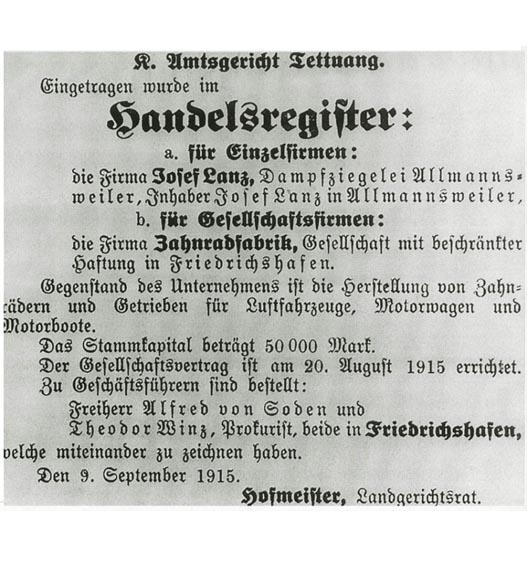 Die Veröffentlichung des Eintrags ins Handelsregister des Amtsgerichts Tettnang am 9. September 1915