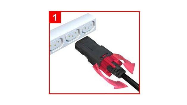 Befestigen des zLock-Dual-Stromkabels am C14-Ende. Schritt 1: Öffnen des Drehverschlusses