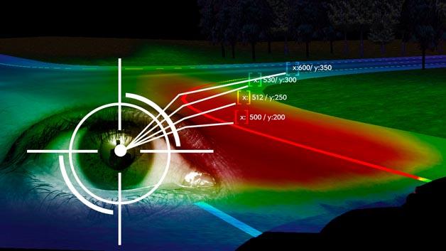 Beim Eye-Tracking-System von Opel tastet eine Kamera das Auge des Fahrers mehr als 50 Mal pro Sekunde ab, um den Scheinwerferstrahl quasi in Echtzeit auszurichten.