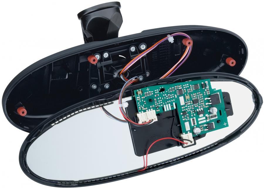 RAST-Steckverbinder im automatisch abdimmbaren Innenspiegel