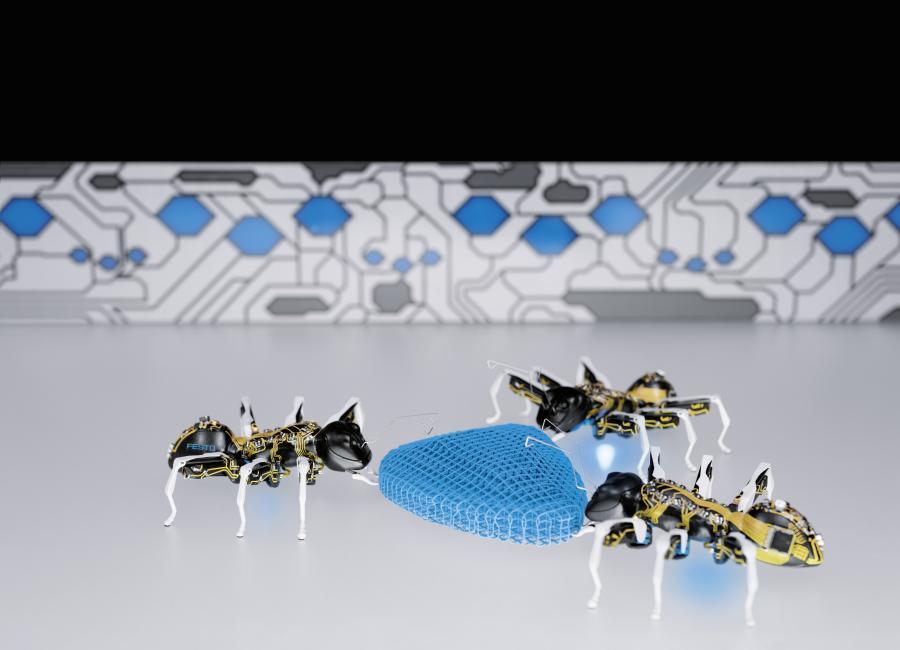 Doch der eigentliche bionische Aspekt ist das kooperative Verhalten der BionicANTs: Wie ihre realen Vorbilder arbeiten die BionicANTs nach klaren Regeln zusammen. Damit gelingt es den BionicANTs, als einzelne Einheiten eigenständig auf unterschiedliche Situationen zu reagieren, sich miteinander abzustimmen und als vernetztes Gesamtsystem zu agieren. Durch vereintes Schieben und Ziehen bewegen sie Lasten, die eine einzelne Ameise nicht bewegen könnte. Allen Aktionen liegt ein verteiltes Regelwerk zu Grunde, das vorab über eine mathematische Modellbildung und Simulationen erarbeitet wurde und auf jeder Ameise hinterlegt ist. Damit ist jede einzelne Ameise in der Lage, ihre Entscheidungen autonom zu treffen, ordnet sich dabei aber dem gemeinsamen Ziel unter und trägt so ihren Teil zur Lösung der anstehenden Aufgabe bei.