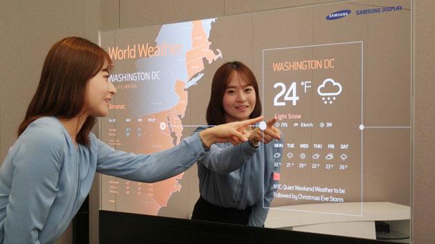 Die Spiegel-OLED-Displays sollen auch technikaffine Privatanwender ansprechen: Wo heute ein gewöhnlicher Spiegel hängt, kann ein Spiegel-Display während des Ankleidens die aktuelle Wetterprognose einblenden.