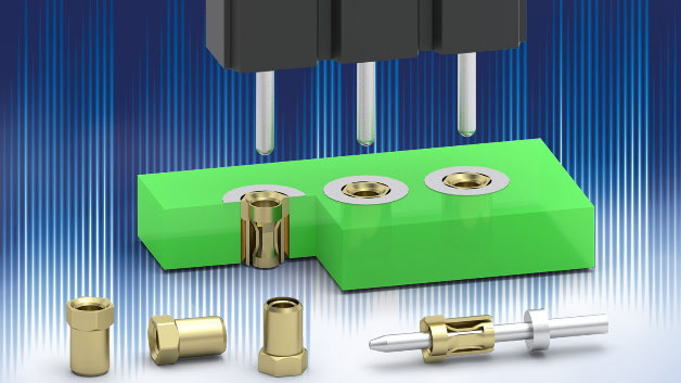 Eine Kontaktbuchse für bis zu 3A zum Einpressen statt zum Einlöten in eine Platine hat Mill-Max (Vertrieb: WDI) vorgestellt. Die Buchse »0531« eignet sich für plattierte Durchgangslöcher mit einem Durchmesser von 1,14mm. Die Gesamthöhe beträgt 1,73mm, und die Buchse fügt sich beim Einpressen komplett in das Durchgangsloch ein, sodass bei einer entsprechend dicken Platine kein Kragen übersteht. Zudem ist die Buchse beidseitig verwendbar, die Bauteile sind somit von der Ober- und Unterseite der Platine steckbar. Der Kontaktclip in der Buchse 0531 akzeptiert Kontaktstifte mit Durchmessern von 0,46mm bis 0,58mm.