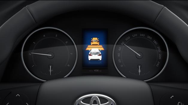 Erkennt das PCS eine drohende Kollision mit einem, wie zum Beispiel plötzlich bremsende Fahrzeuge, so wird der Fahrer sowohl optisch als auch akustisch aufgefordert, einen Bremsvorgang einzuleiten.