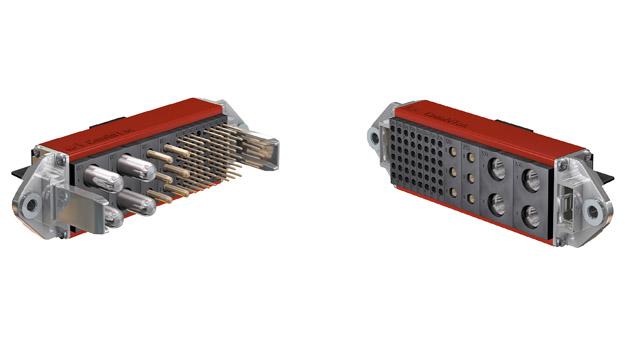 Diese kompakte CombiTac-Konfiguration für eine Automationsanwendung vereint Leistungs- und Signalkontakte.
