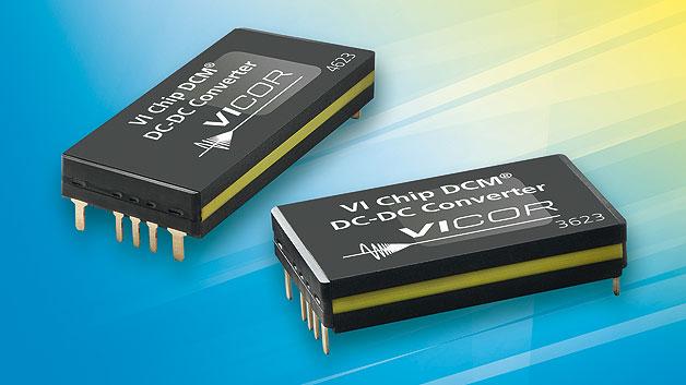 Die Wandlermodule »DCM« von Vicor bieten bis zu 600 W Ausgangsleistung bei einer Grundfläche von 48 × 23 mm². Sie bieten eine Isolationsspannung von bis zu 4242 V und erreichen aufgrund der ZVS-Topologie (Zero Voltage Switching) einen Wirkungsgrad bis zu 93 % über den gesamten Eingangsspannungsbereich. Untergebracht sind die Module im ChiP-Gehäuse, das eine Wärmeabfuhr über die Ober- und Unterseite ermöglicht. Über Hy-Line Power Components sind Module mit Eingangsspannungen von 24 bis 300 V DC und Ausgangsgleichspannungen von 5 V,12 V, 13,8 V, 15 V, 24 V, 36 V und 48 V erhältlich. Zu den weiteren Eigenschaften zählen Dauerstrombegrenzung, Unter- und Überspannungs-, Überstrom- und Übertemperaturschutz sowie Arbeitstemperaturbereichen bis zu –55 bis +125 °C