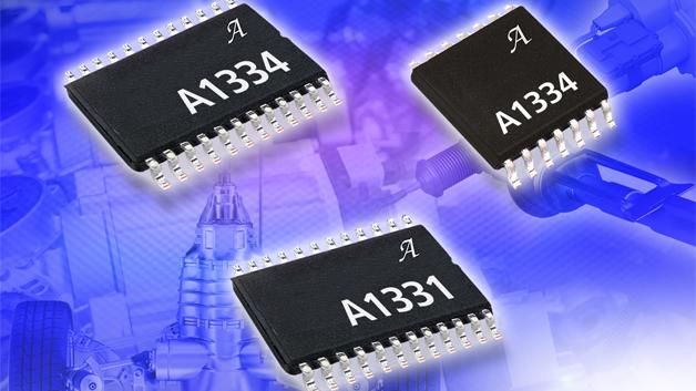 Mit dem A1331 und A1334 stellt Allegro MicroSystems Europe neue, kontaktlose Hall-Effekt-Magnetsensor-ICs zur universellen Erfassung von Winkelpositionen wie z.B. der Motorposition vor. Die 2-Chip-Winkelsensor-ICs basieren auf einer vertikalen Hall-Effekt-Technik mit System-on-Chip-Architektur, die eine schnelle Aktualisierung des Ausgangs und eine niedrige Latenz des Signalpfades ermöglicht. Die Sensoren werden im TSSOP-24-Gehäuse ausgeliefert, das zwei einzelne, elektrisch isolierte Chips enthält. Diese 2-Chip-Funktion ermöglicht einen Einsatz in sicherheitskritischen Anwendungen, die einen redundanten Sensor-IC erfordern. Der A1334 steht auch in einer Ein-Chip-Konfiguration im TSSOP-14-Gehäuse zur Verfügung. Der A1331 und A1334 bieten integrierte DSP-Funktionen und EEPROM für eine Programmierung ab Werk und beim Kunden. Die Sensor-ICs sind mit einer 4-poligen 10-MHz-SPI-Schnittstelle ausgestattet und bieten eine Ausgangsaktualisierung innerhalb von 25 µs sowie eine Signalpfad-Latenz von nur 60 µs. Die Stromaufnahme pro Chip beträgt maximal nur 10 mA. Beide Bausteine können sowohl bei niedriger Drehzahl betrieben werden und unterstützen dabei bis zu 12 Bit Auflösung, als auch bei hohen Drehzahlen, um Anwendungen zu unterstützen, die schnellere Aktualisierungsraten und geringere Signalpfad-Latenzzeiten benötigen. Als Teil ihrer DSP-Funktion bieten die ICs eine Automotive-konforme Temperaturkompensation, um genaue Winkelmessungen über den gesamten Temperaturbereich (-40 bis +150 °C) und Spannungsbereich (4,5 bis 14,5 V) zu ermöglichen.