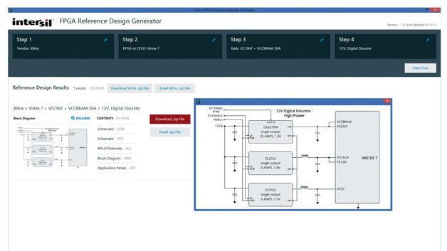 Bild 1: Der FPGA Reference Design Generator  findet den richtigen Intersil-Stromversorgungs- baustein für Ihr Design (Bilder: Intersil)