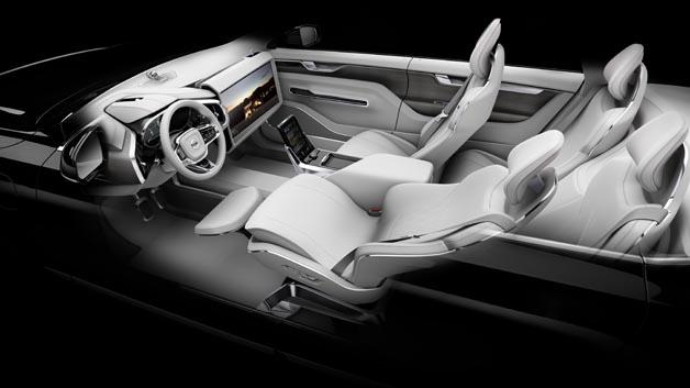 Mit Concept 26 hat Volvo eine Interieur-Studie zeigt, wie der Innenraum autonom fahrender Autos aussehen könnte und wie Insassen die Zeit nutzen könnten.