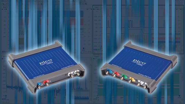 Kennziffer 000: Die USB-Oszilloskope der PicoScope-Serie 3000D können bis zu 100.000 Wellenformen pro Sekunde aufzeichnen. Sie verfügen über Bandbreiten bis zu 200 MHz, zwei oder vier analoge Kanäle plus 16 digitale Kanäle bei den MSO-Modellen. Der Speicher der Geräte liegt zwischen 64 und 521 MS. Das Signal wird mit zu 1 GS/s abgetastet und über die USB 3.0-Schnittstelle an den PC gesendet. Die Triggerung erfolgt vollständig digital. Auch ein Spektrumanalysator und ein Arbitärgenerator sind eingebaut.