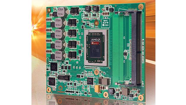 x86-Prozessor: Leistung für lüfterlose Systeme. Die Prozessoren der AMD-R-Serie vereinen CPU und GPU auf einem Stück Silizium. Gegenüber den bisherigen Bausteinen benötigen die neuen Mitglieder der AMD-R-Serie 40 Prozent weniger Energie bei ca. 5 Prozent höherer Rechenleistung. Die Thermal Design Power lässt sich von 12 bis 35 Watt skalieren, wobei sich die genügsamen Familienmitglieder, die nur 12 bis 15 Watt benötigen, auch für lüfterlose Systeme eignen. Mit dem Programmiermodell OpenCL kann die Grafik-Einheit auch für General-Purpose-Berechnungen herangezogen werden, womit sich der Prozessor auch für High-Performance-Anwendungen im Embedded-Bereich eignet.