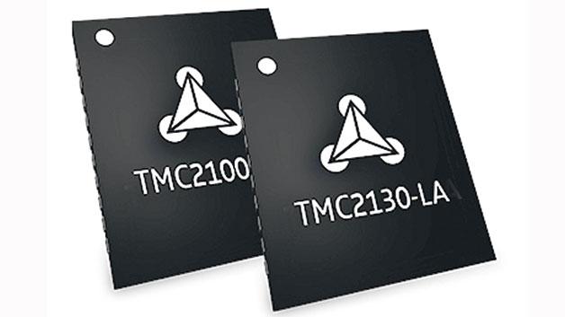 Bei den Bausteinen TMC2100-LA und TMC2130-LA von Trinamic handelt es sich um leise Schrittmotor-Treiber einschließlich Mikroschritt-Interpolation (bis zu 256Mikroschritte pro Vollschritt) und sensorloser Last-Erkennung. Der Schrittmotor-Treiber TMC2130 läuft extrem leise, sowohl bei Stillstand als auch bei niedrigen Geschwindigkeiten und bietet eine zusätzliche SPI-Schnittstelle.