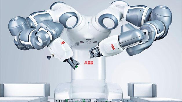 Mit YuMI hat ABB hat einen kollaborativen Tischroboter entwickelt. Zuhause ist der 38kg schwere Zweiarmer mit sieben Freiheitsgraden pro Arm in der industriellen Kleinteilefertigung. Hier kann er die Freiheitsgrade ausspielen, um sich an Arbeitsplätze anzupassen, die für Menschen ausgelegt sind.