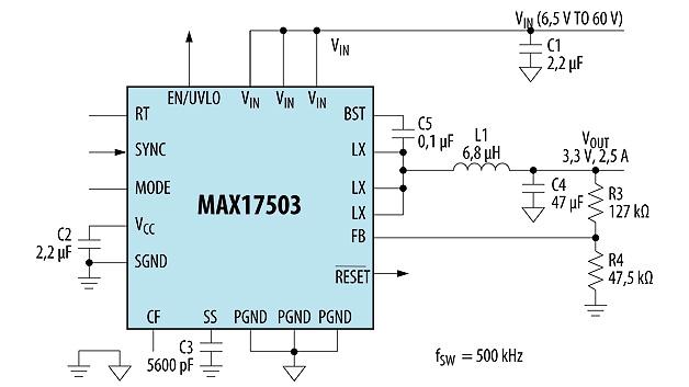 Durch den Einsatz von Hochvolt-Point-of-Load-Gleichspannungswandlern wie dem MAX17503 können Digital-, Analog- und Mixed-Signal-Verbraucher direkt an Eingangsspannungen bis 60V betrieben werden, ohne dass eine zwischengeschaltete DC-DC-Wandlung nötig ist. Damit wird wertvolle Leiterplattenfläche frei, während man gleichzeitig die Kosten und Energieverluste der zusätzlichen Wandlerstufe meidet. Damit eignet sich der MAX17503 z.B. ideal für kompakte Industriesteuerungen.