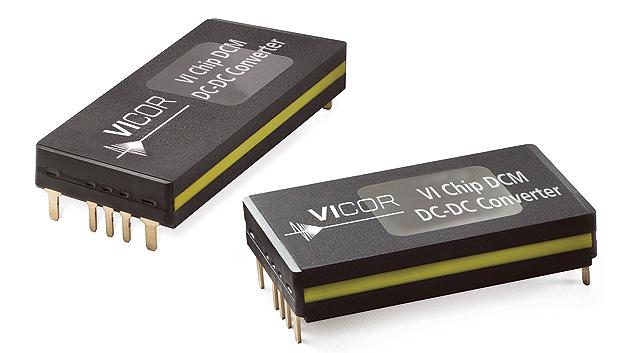 Vicors isolierte und geregelte DC/DC-Wandlerserie DCM bietet nominale Uin von 24, 28, 48, 270, 290 und 300V; nominale Uout: 5, 12, 15, 14, 28, 36 und 48V. Der typ. Wirkungsgrad liegt bei 93%. An den Ausgängen können ChiP- und SiP-PoL-Regler angeschlossen und so eine komplette integrierte Stromversorgung aufgebaut werden. Erhältlich sind die Module in zwei bedrahteten Gehäusen: im 4623-ChiP-Gehäuse mit 46 × 23mm² bis 600W, im 3623-ChiP-Gehäuse mit 36 × 23mm² und bis zu 320W.