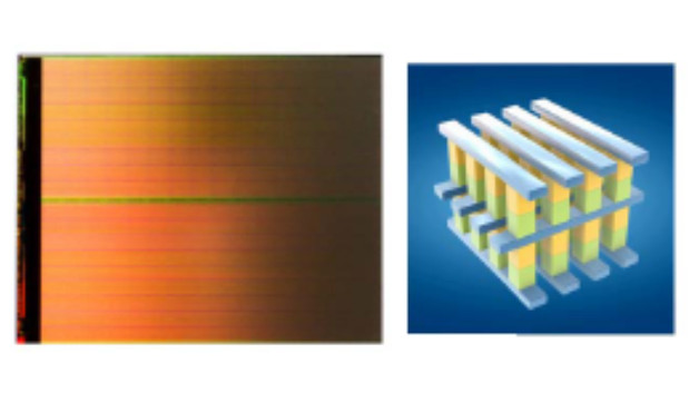 Bild 3. 128-Gbit-3D-Xpoint-Chip und struktureller Aufbau