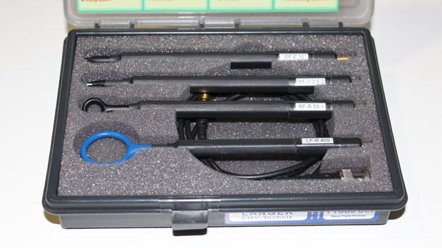 Auch Nahfeldsonden und Vorverstärker von Langer EMV hat DataTec am Stand. Damit können einfach HF-undichte Stellen an Gehäusen und elektronischen Schaltungen entdeckt werden.
