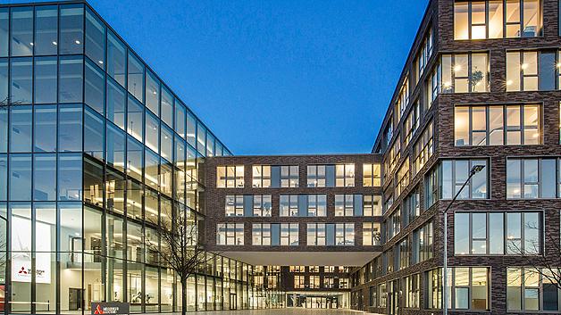 Der Eingang der neuen Deutschlandzentrale von Mitsubishi Electric in Ratingen.
